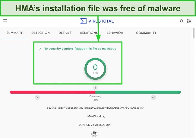 Screenshot of HMA's installation file passing malware screening