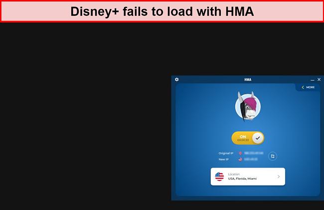Screenshot of HMA VPN failing to access Disney+ through a US server.