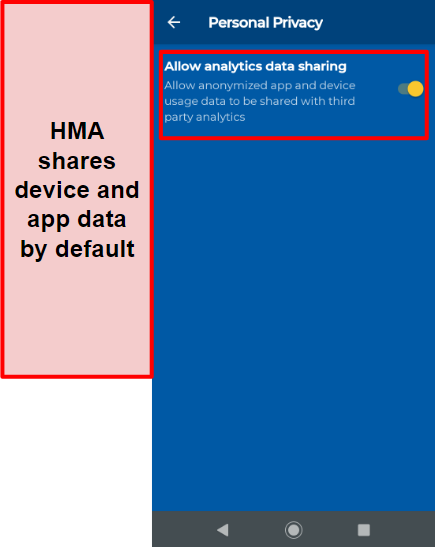 Screenshot of HMA's data sharing section on Android, which is on by default