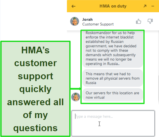 Screenshot of customer support in live chat helping me in a timely manner with a query.