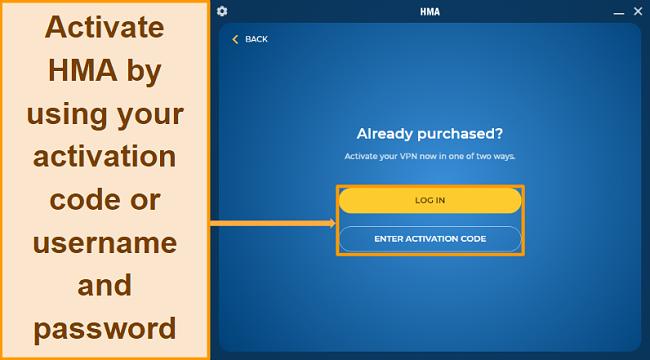 Screenshot of HMA account activation
