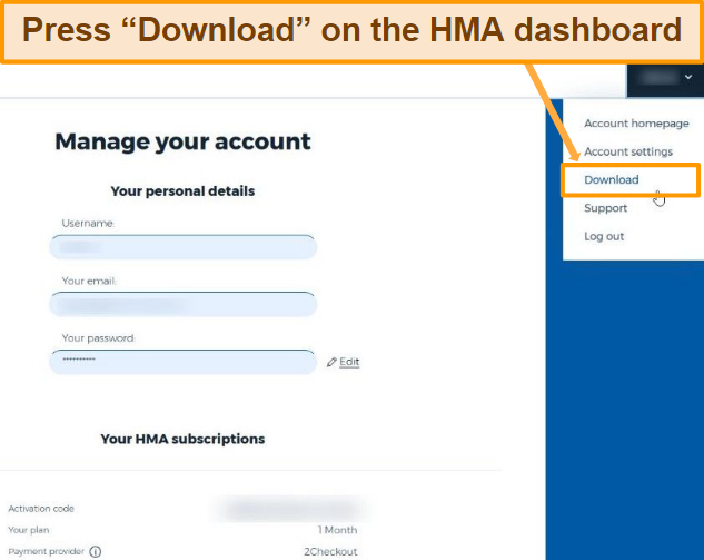 Screenshot of account details with activation code, where you have to select the downloads button top right to move onwards to the next step.