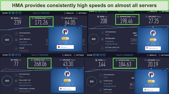 Screenshot of HMA speed tests in 4 locations, including the US, Mexico, Bahrain, and Singapore.
