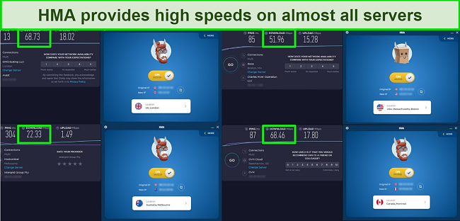 Screenshot of HMA speed tests in 4 locations, including the UK, US, Canada, and Australia.