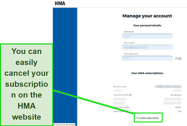 Screenshot of the cancel subscription button in the HMA account settings dashboard page.