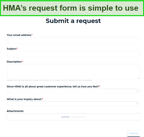 Screenshot of HMA's request form, which is used to contact support.