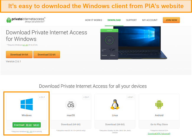 screenshot of PIA website with a variety of downloads for different operating systems