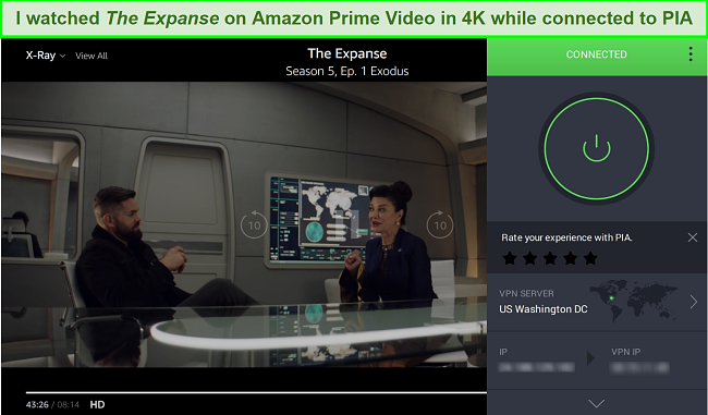 A screenshot of Amazon Prime Video being unblocked while connected to the PIA server in Washington, DC.