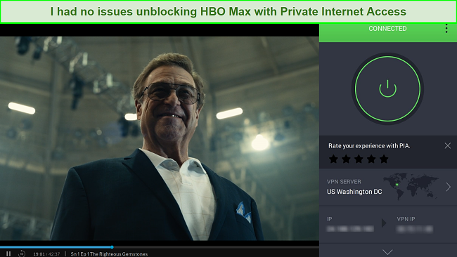 A screenshot of HBO MAX being unblocked while connected to the PIA server in Washington, DC.