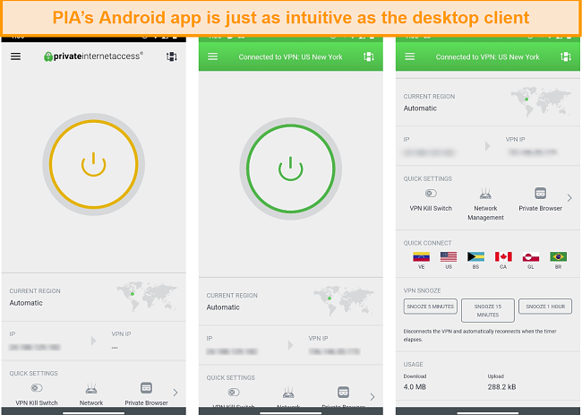 screenshot of different screens from the PIA Android app