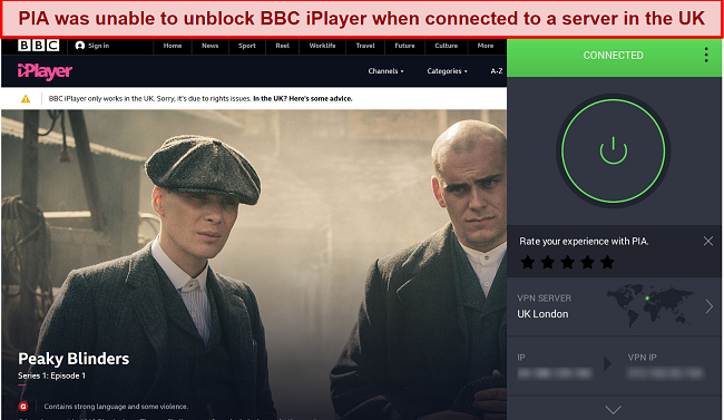 A screenshot of BBC iPlayer blocking a connection from a PIA server based in London.