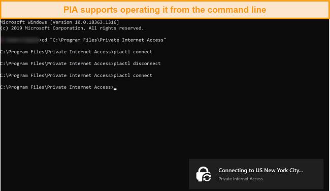 screenshot of operating PIA through the command line.
