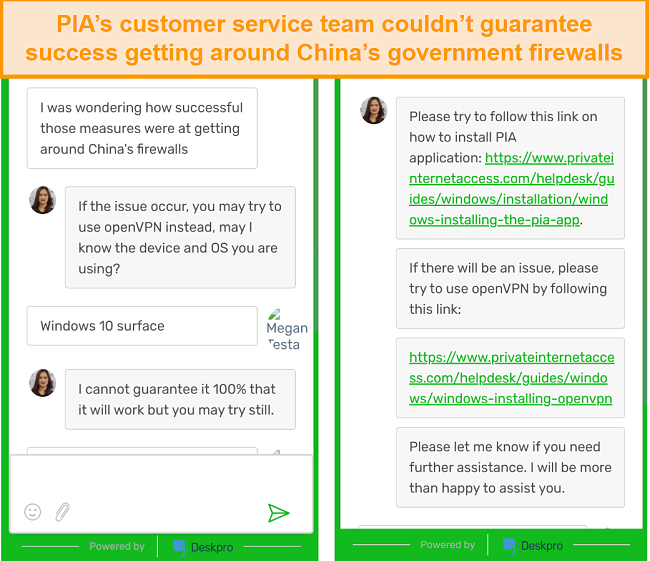 Screenshot of chat with PIA customer service regarding the VPN working in China