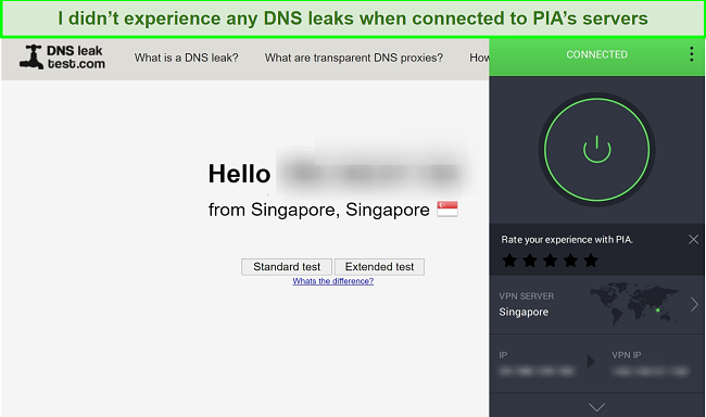 Screenshot of DNSleaktest.com showing a connection from Singapore, while connected to a PIA server in Singapore