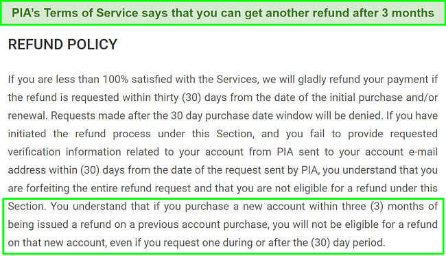 screenshot of PIA's refund policy