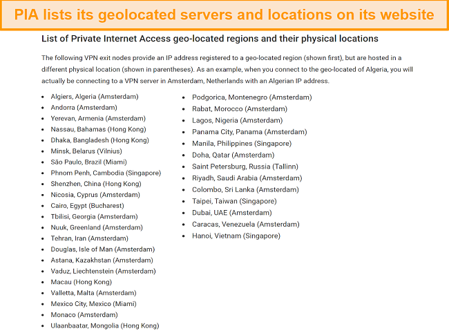 Screenshot of PIA's website with its geolocated servers and actual locations