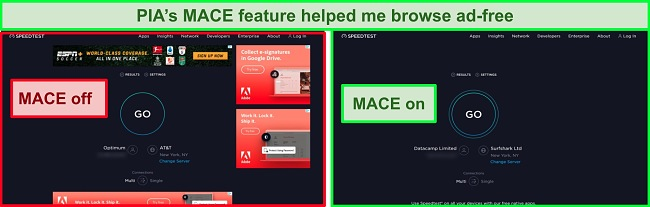 Screenshot of PIA's MACE feature removing ads on a website.
