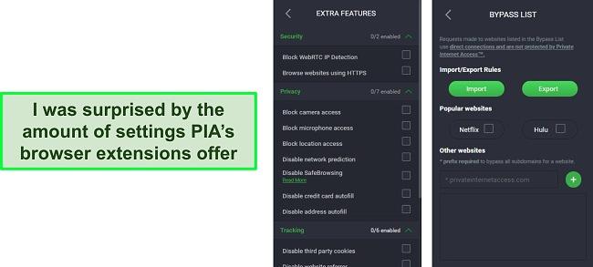 Screenshot of PIA VPN's browser extension settings.