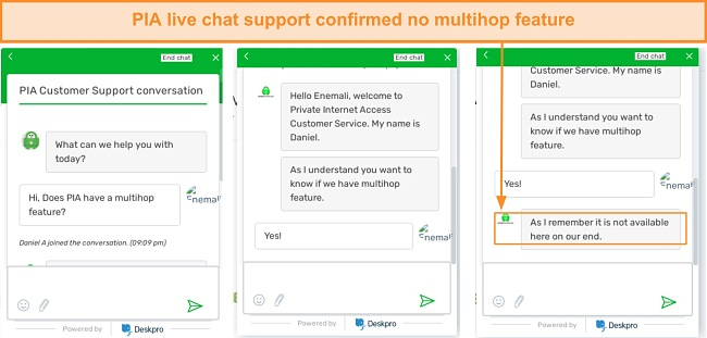 Screenshot of live chat conversation with a PIA VPN agent.