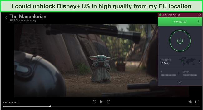 Screenshot of PIA unblocking Disney+ US and streaming The Mandalorian.