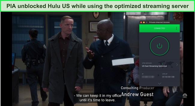 Screenshot of PIA unblocking Hulu US and playing Brooklyn Nine-Nine