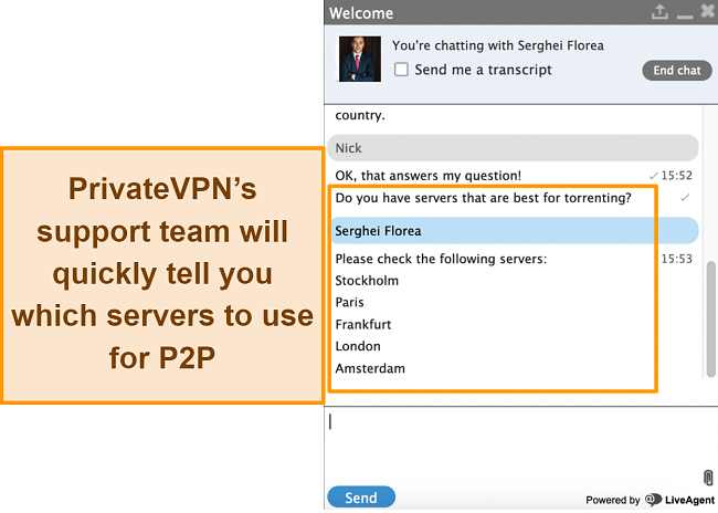 Screenshot of live chat with PrivateVPN support team