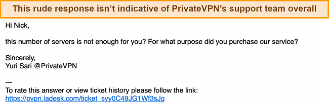 Screenshot of an email conversation with the PrivateVPN support team