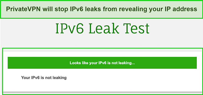 Screenshot of IPv6 leak test performed while connected to PrivateVPN