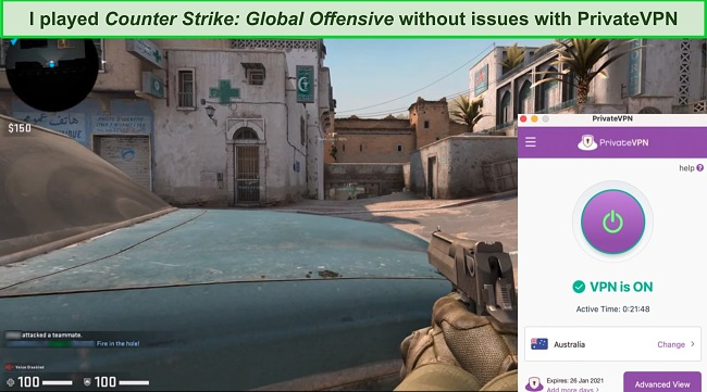 Screenshot of a Counter-Strike match while PrivateVPN is connected to a server in Australia