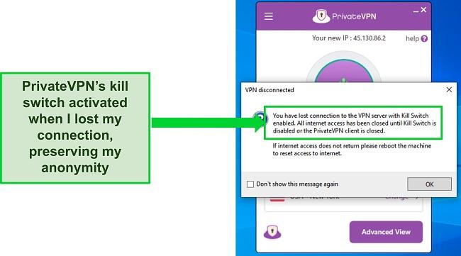 Screenshot of PrivateVPN's internet kill switch dialog box