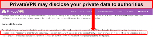 Screenshot of PrivateVPN's privacy policy