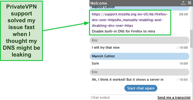 Screenshot of an exchange with PrivateVPN support helping with a DNS detection issue