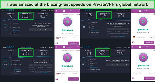 Screenshot of PrivateVPN speed tests showing servers in the US, UK, Germany, and Japan