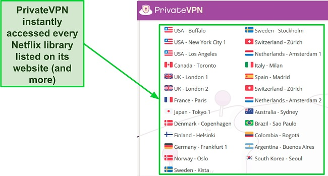 Screenshot of a list of servers on PrivateVPN's website that should work with Netflix