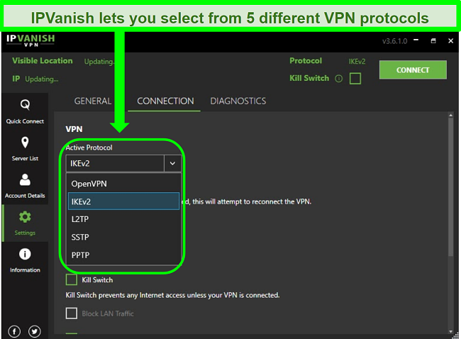 Screenshot of IPVanish's VPN protocol list
