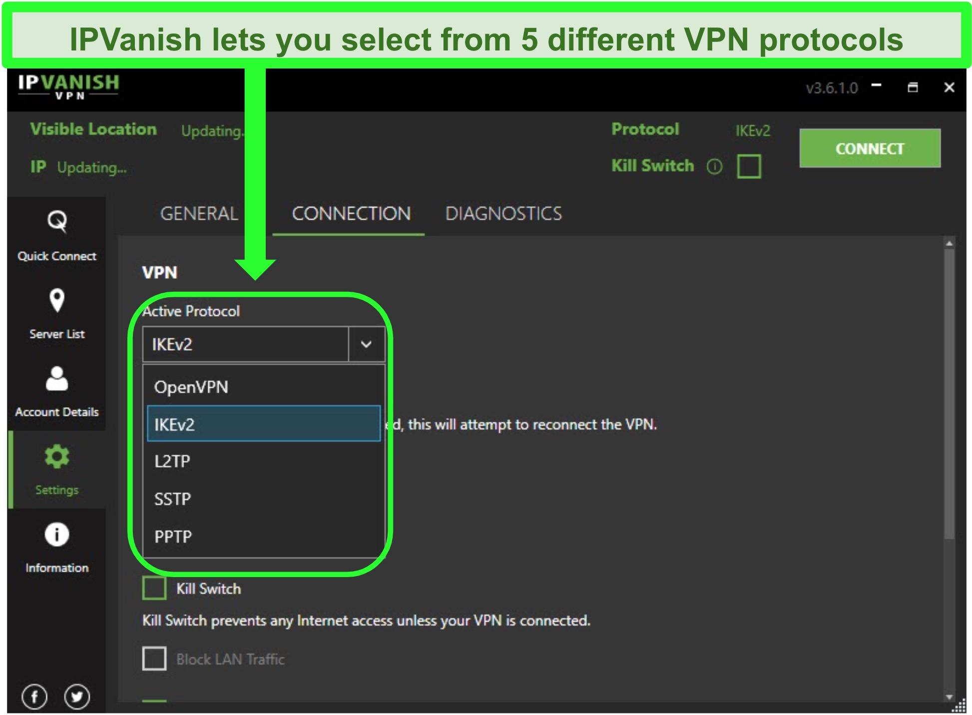 Screenshot of IPVanish's VPN protocol list