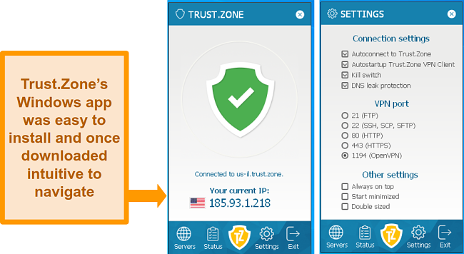 Screenshot of the home and settings page of Trust.Zone's Windows app.