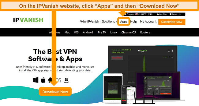 Screenshot of the IPVanish website's Apps section