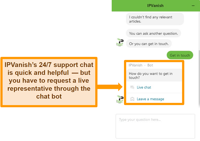 Screenshot of a chat with IPVanish's 24/7 support bot