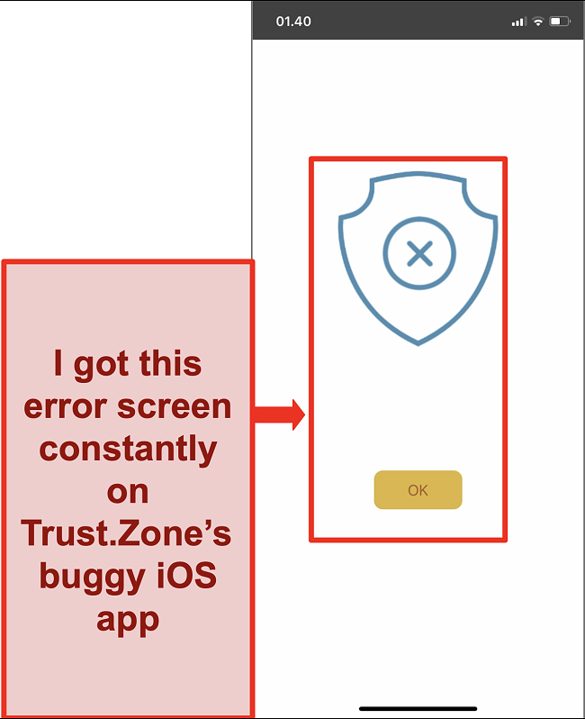 Screenshot of an error screen in Trust.Zone's iOS app