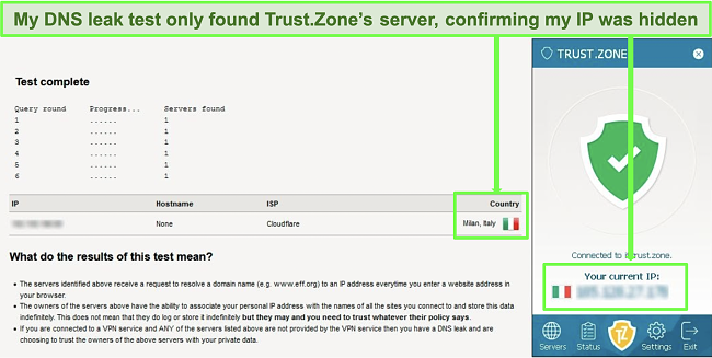 Screenshot of a successful DNS leak test while Trust.Zone is connected to a server in Italy