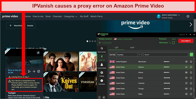 Screenshot of Amazon Prime Video blocking access to content with an IP error while IPVanish is connected to a server in the US