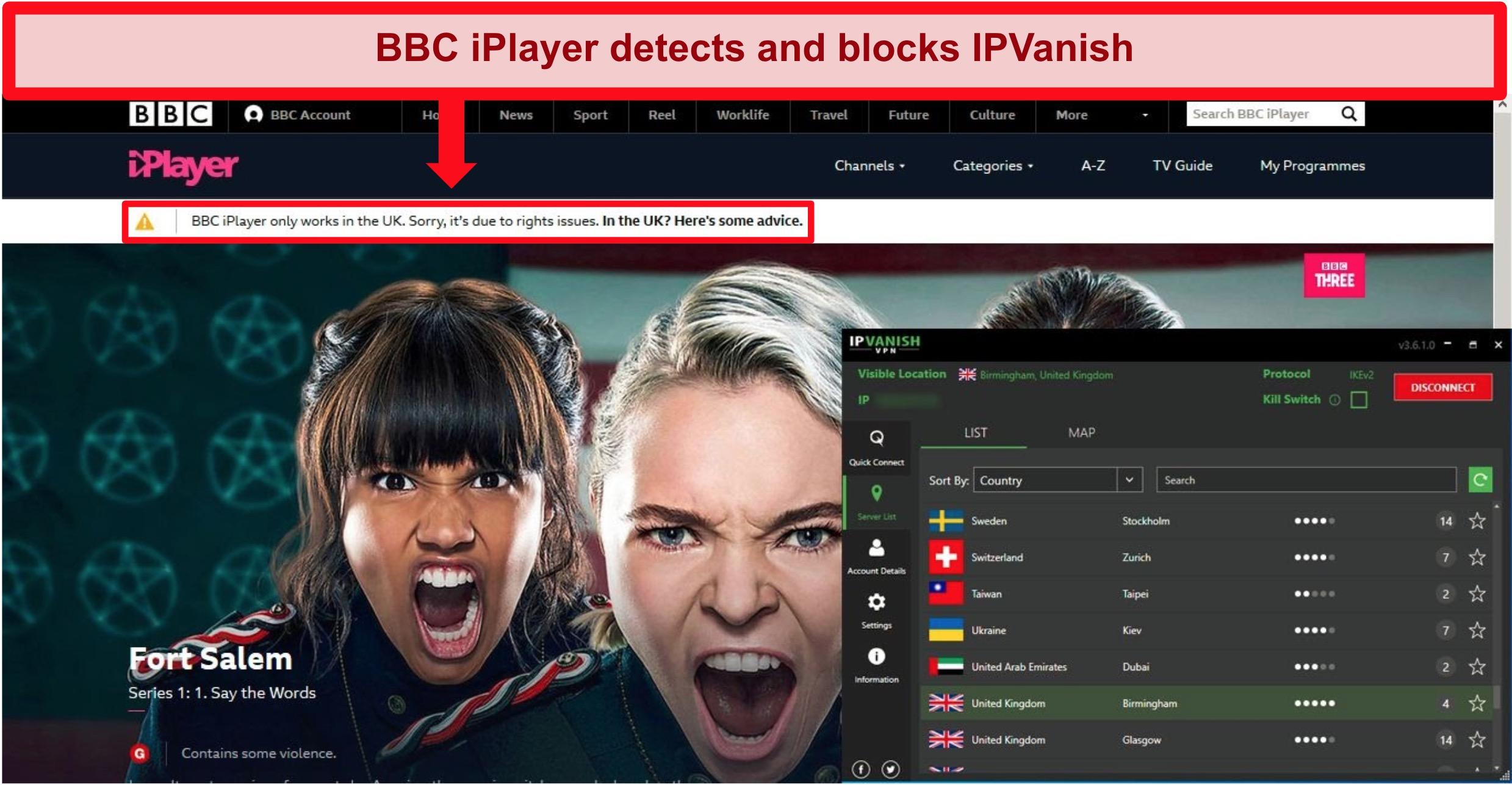 Screenshot of BBC iPlayer displaying an error message while logged into IPVanish's Birmingham, UK server