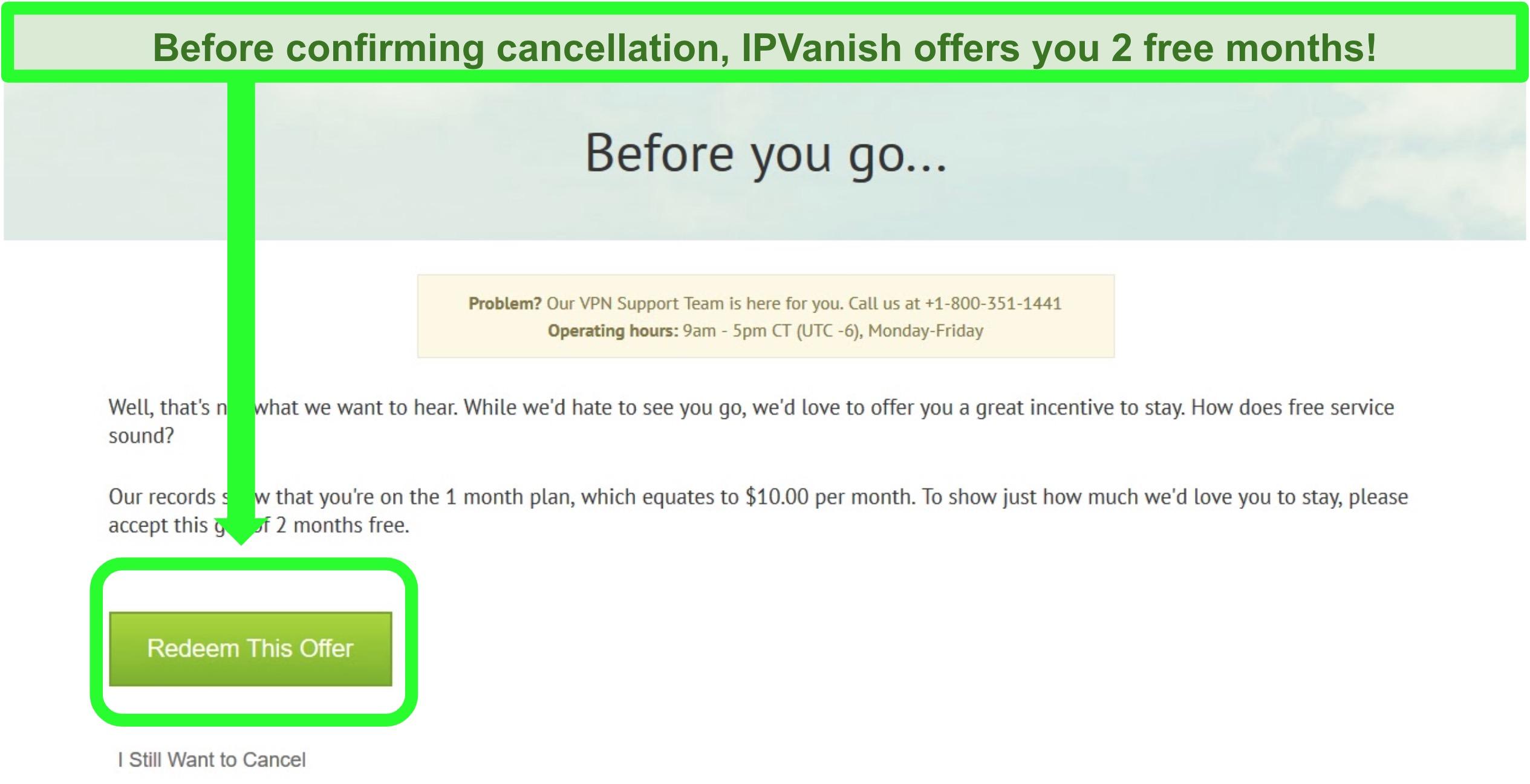 Screenshot of IPVanish's 2 month free offer screen