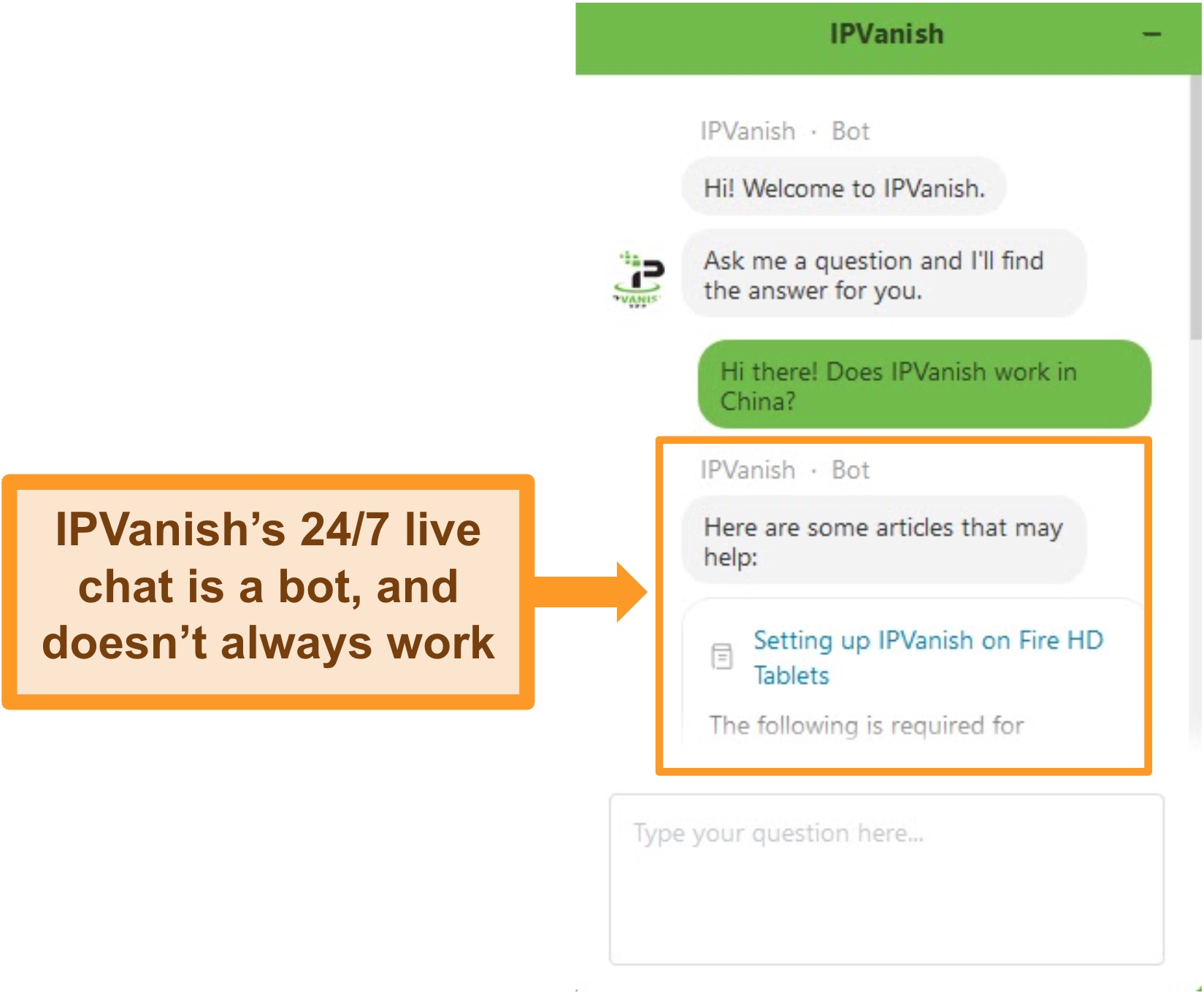 Screenshot of IPVanish's support chat bot answering a question