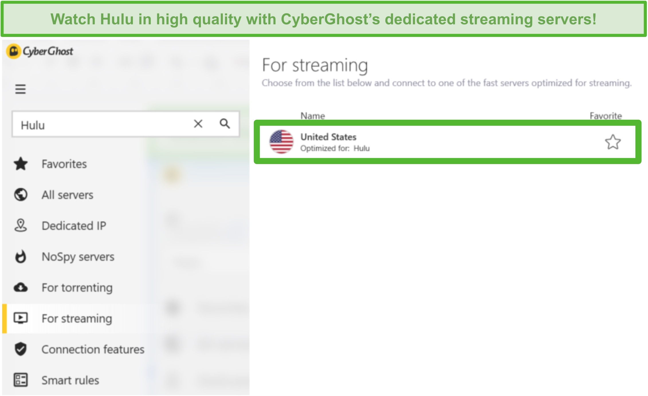 Screenshot of CyberGhost's dedicated Hulu streaming server.