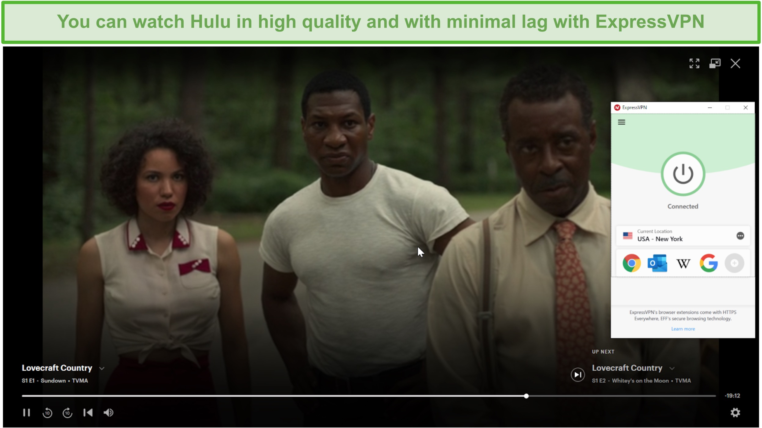 Screenshot of ExpressVPN unblocking Hulu US and streaming Lovecraft Country.