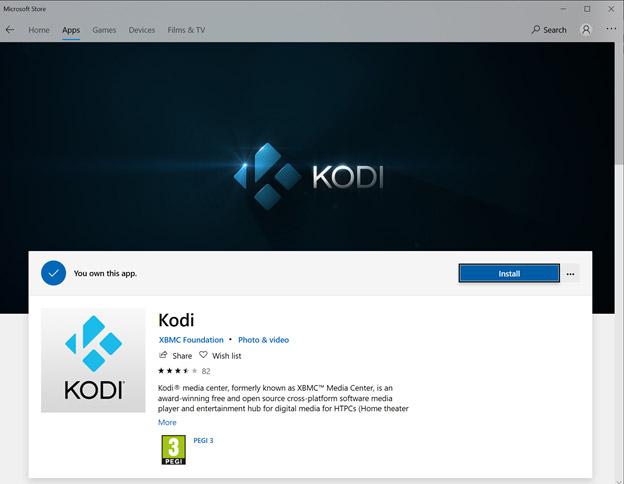 Microsoft Windows store Kodi app install