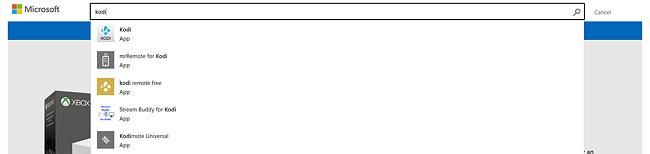 Microsoft Windows store search Kodi