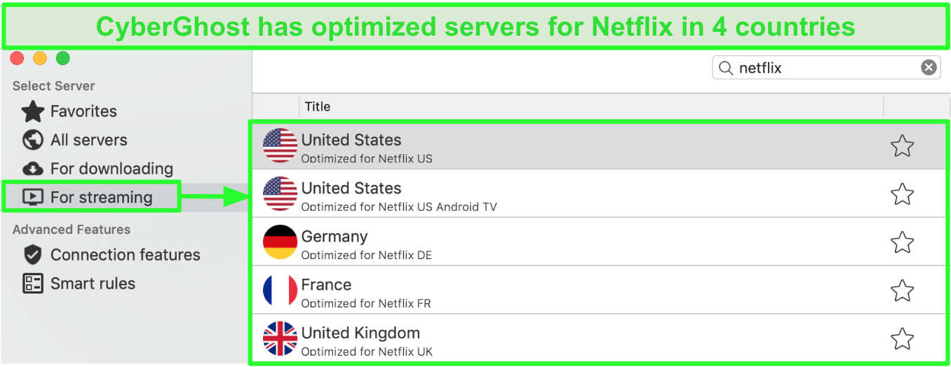 Screenshot of CyberGhost app interface showing optimized servers for streaming Netflix
